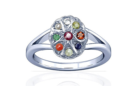 Navratna Sterling Silver Ring (A2)
