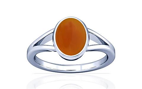 Orange Onyx Silver Ring (A2)
