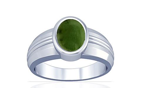 Nephrite Jade Silver Ring (A4)