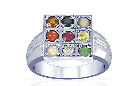 Navratna Sterling Silver Ring (A4)