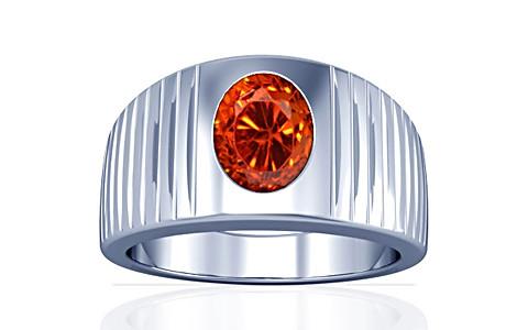 Orange Cubic Zirconia Silver Ring (A5)