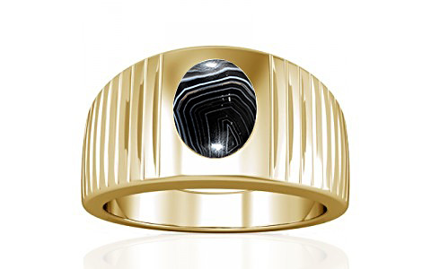 Striped Onyx Gold Ring (A5)