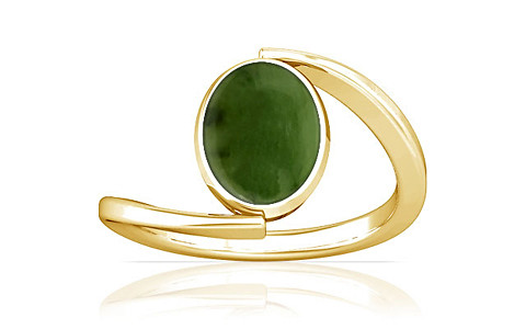 Nephrite Jade Gold Ring (A6)