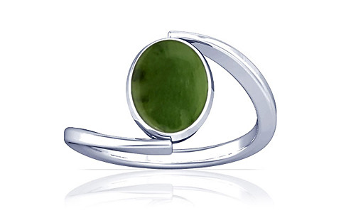 Nephrite Jade Silver Ring (A6)