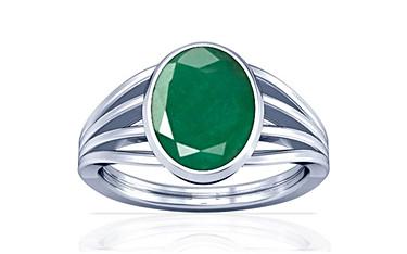 Emerald Sterling Silver Ring (Design A7) | GemPundit.com