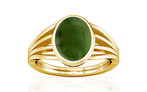 Nephrite Jade Gold Ring (A7)