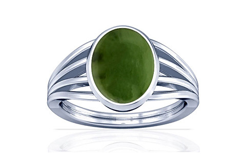 Nephrite Jade Silver Ring (A7)