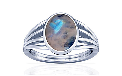 Rainbow Moonstone Silver Ring (A7)