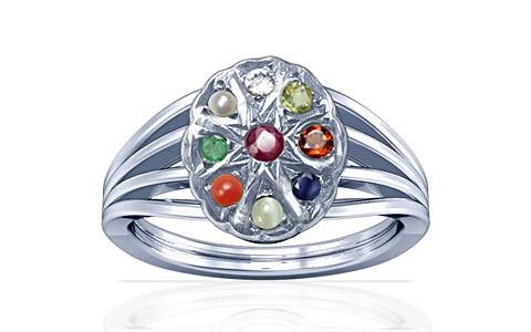 Navratna Sterling Silver Ring (A7)