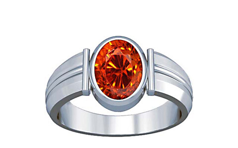 Orange Cubic Zirconia Silver Ring (A9)