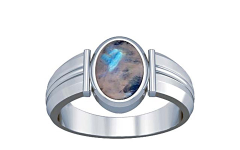 Rainbow Moonstone Silver Ring (A9)