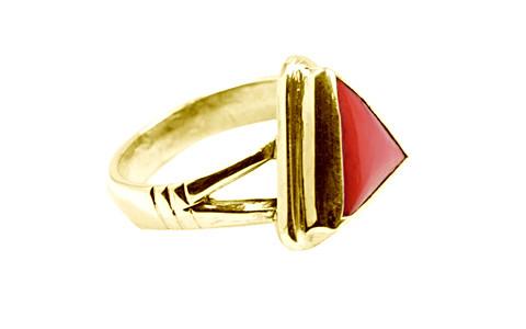 Triangular Red Coral Panchdhatu Ring (AC2)