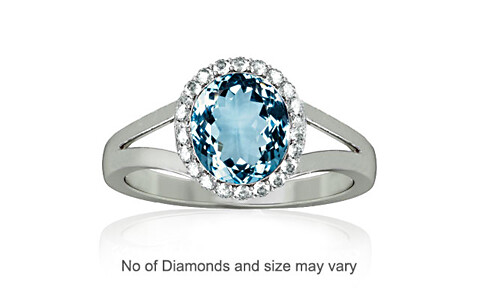 Aquamarine Sterling Silver Ring (A2-Sparkle)