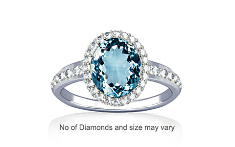 Aquamarine Sterling Silver Ring (R1-Dazzle)