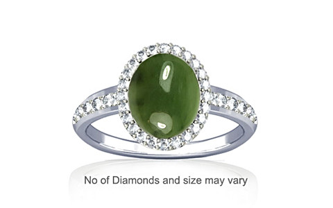 Nephrite Jade Sterling Silver Ring (R1-Dazzle)