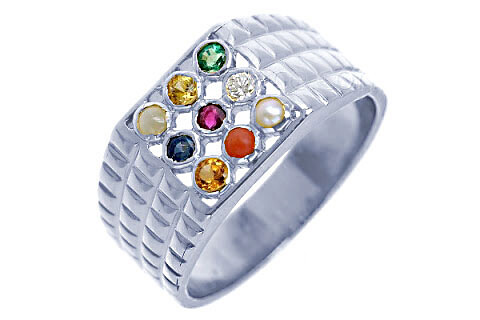 Navratna Sterling Silver Ring (N6)