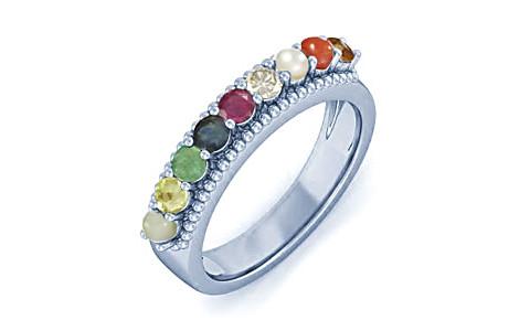 Navratna Sterling Silver Ring (N7)