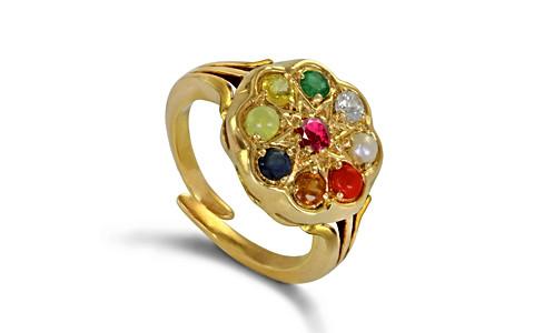 Bajirao Navagraha Ring (Luxury) in Gold