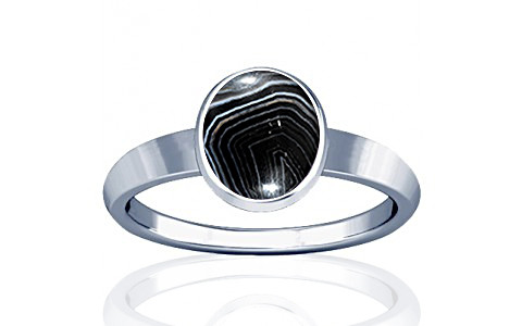 Striped Onyx Sterling Silver Ring (R1)