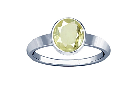 Yellow Sapphire Sterling Silver Ring (R1)