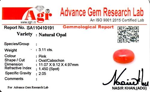 Pink Opal - 3.11 carats