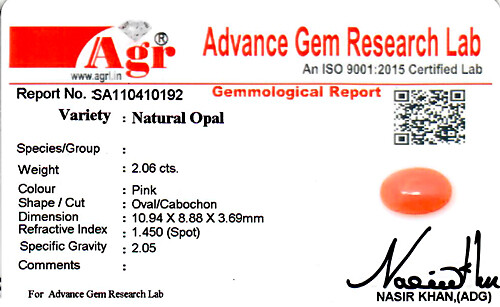 Pink Opal - 2.06 carats