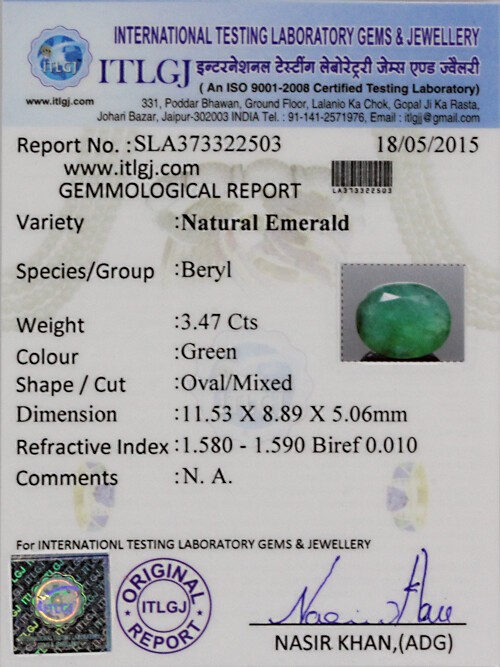 Emerald - 3.47 carats