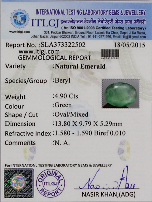 Emerald - 4.90 carats