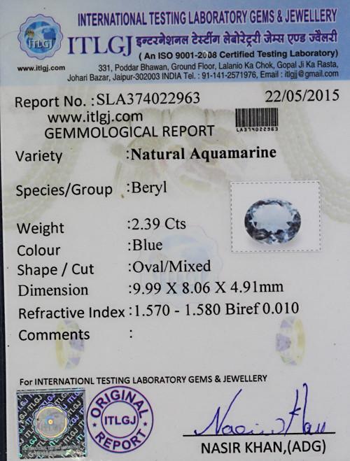 Aquamarine - 2.39 carats
