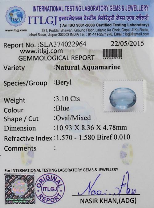 Aquamarine - 3.10 carats