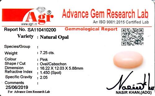 Pink Opal - 7.25 carats