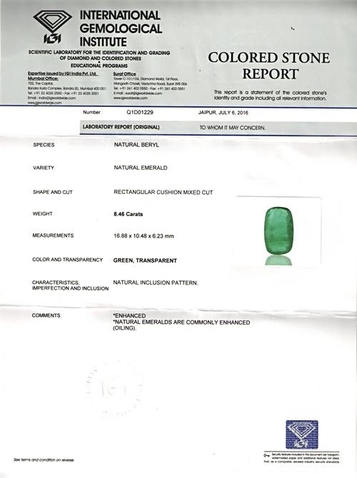Emerald - 8.47 carats