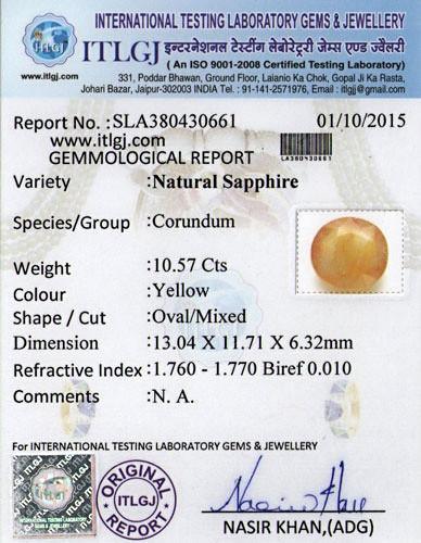 Yellow Sapphire - 10.57 carats