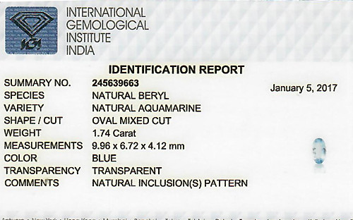 Aquamarine - 1.74 carats
