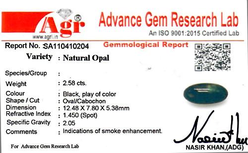 Black Opal - 2.58 carats