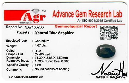 Blue Sapphire - 4.67 carats