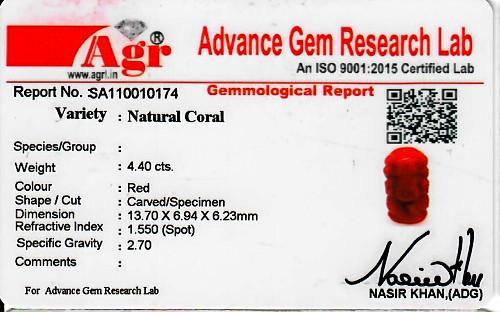 Red Coral Ganesha - 4.40 carats
