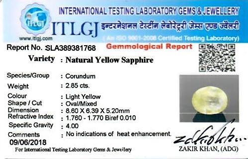 Yellow Sapphire - 2.85 carats