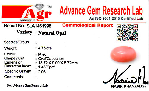 Pink Opal - 4.76 carats