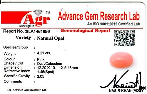Pink Opal - 4.21 carats