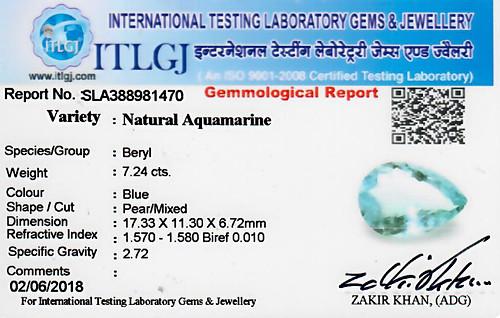 Aquamarine - 7.24 carats