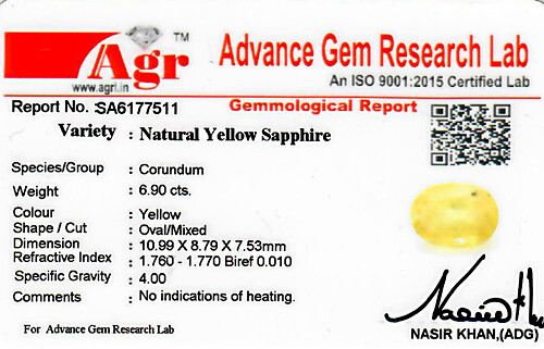 Yellow Sapphire - 6.90 carats