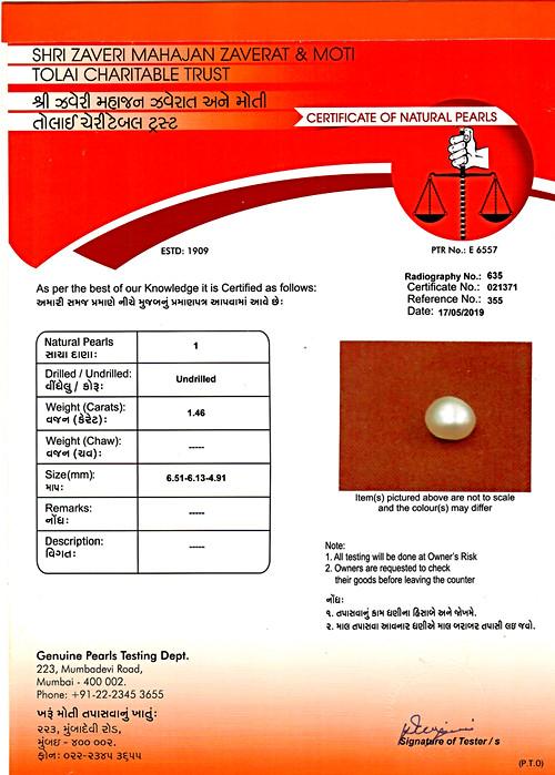 Natural Basra Pearl - 1.46 carats