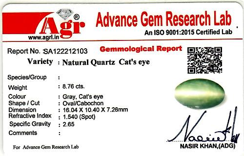 Quartz Cat's Eye - 8.76 carats