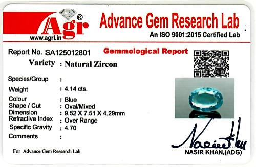 Blue Zircon - 4.14 carats