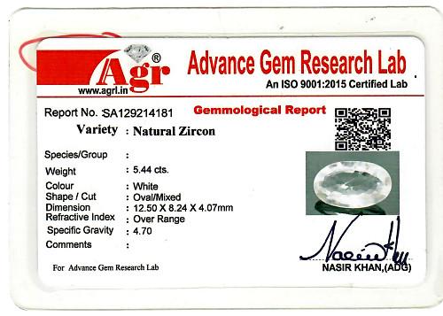White Zircon - 5.44 carats