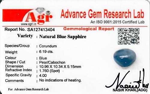 Blue Sapphire - 6.19 carats