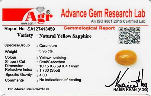 Yellow Sapphire - 3.95 carats