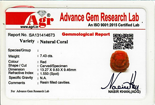 Red Coral Ganesha - 7.43 carats