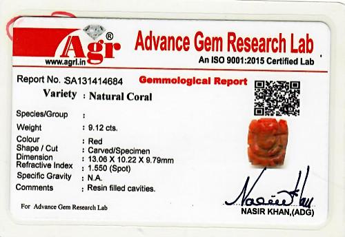 Red Coral Ganesha - 9.12 carats